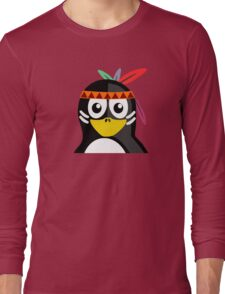 Penguin as Native American  Long Sleeve T-Shirt