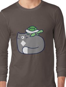 Blue Cat and Tiny Turtle Long Sleeve T-Shirt