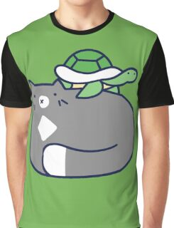 Blue Cat and Tiny Turtle Graphic T-Shirt
