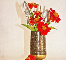 Zinnias Among The Mini Garden Tools by Sandra Foster
