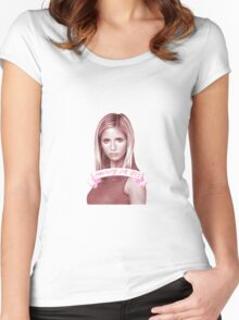 BUFFY OR DIE Women's Fitted Scoop T-Shirt