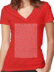 bee movie script ( you can read it) Women's Fitted V-Neck T-Shirt