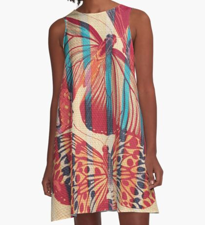 Butterflies in Strips A-Line Dress