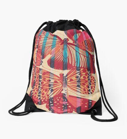 Butterflies in Strips Drawstring Bag