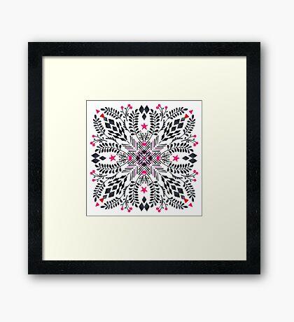 Winter Graphic Folk Art Pattern Framed Print