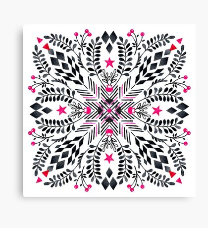 Winter Graphic Folk Art Pattern Canvas Print