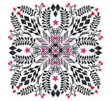 Winter Graphic Folk Art Pattern Photographic Print