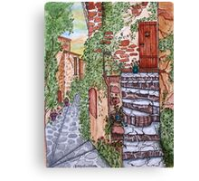 Ancient Crumbling Stone Steps Canvas Print