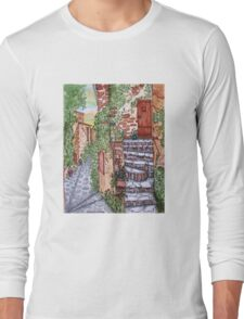 Ancient Crumbling Stone Steps Long Sleeve T-Shirt
