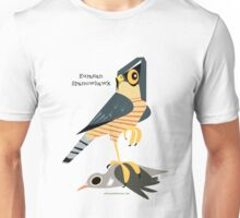 Eurasian Sparrowhawk and Comon Wood Pigeon caricature Unisex T-Shirt
