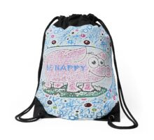 Happy Piggy by Nikki Ellina Drawstring Bag