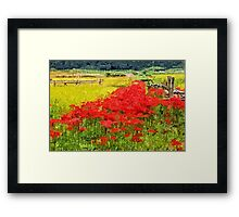Red Spider Lilies Vivid Rice Field Rural Painterly Framed Print