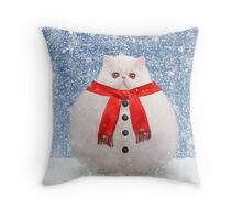 White Persian Cat as a snowball in snow Throw Pillow