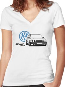 VW MK2 logo Women's Fitted V-Neck T-Shirt