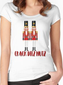 Crack Deez Nutz Funny Nutcracker Christmas Holiday Women's Fitted Scoop T-Shirt