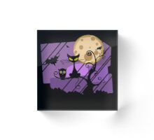 Scary Witch Cat Acrylic Block