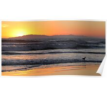 Sunset Waves Poster