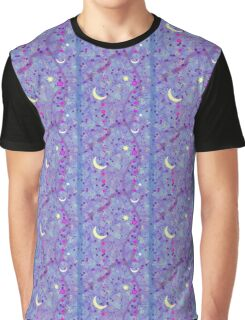 Crescent Moon and Hot Pink Stars Graphic T-Shirt