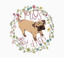 Pugs Not Drugs - Floral Men's Baseball ¾ T-Shirt