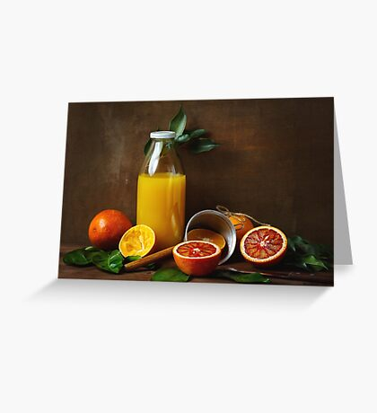 Still life with orange fruit and juice Greeting Card