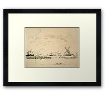 Vintage Sketch of Windmills Framed Print