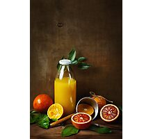 Still life with orange fruit and juice Photographic Print