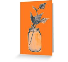 Leaves in a jar watercolor illustration. Greeting Card