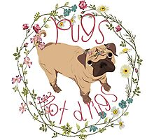 Pugs Not Drugs - Floral Photographic Print