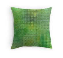 Watercolor Abstraction: Green Grid Texture Throw Pillow
