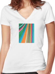 Transforming Vertical Stripes Women's Fitted V-Neck T-Shirt