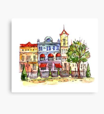 Retro city Canvas Print