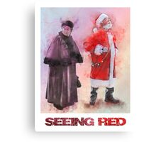 Seeing Red - Santa and Mrs Claus Watercolor Candid Portrait Canvas Print