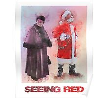 Seeing Red - Santa and Mrs Claus Watercolor Candid Portrait Poster