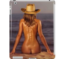 Naked woman sitting at the beach on sand art photo print iPad Case/Skin