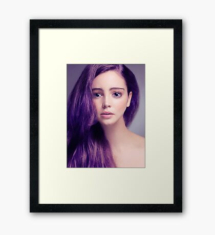 Young woman anime style beauty portrait with large eyes and purple hair art photo print Framed Print
