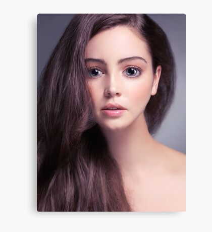 Young woman anime style beauty portrait with beautiful large gray eyes art photo print Canvas Print
