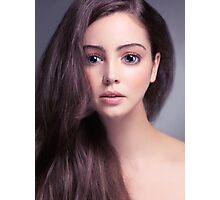 Young woman anime style beauty portrait with beautiful large gray eyes art photo print Photographic Print