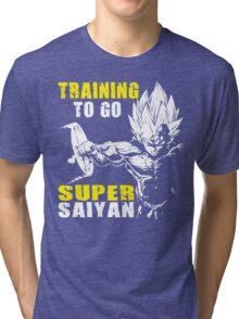 Training To Go Super Saiyan (Vegeta Hardcore Squat) Tri-blend T-Shirt