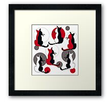 Abstract red cats  Framed Print