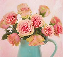A bouquet of Salmon Roses in a Teal Vase by carolynrauh