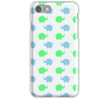 Cute Blue and Green Elephants iPhone Case/Skin