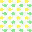 Cute Yellow and Green Elephants by purplesensation