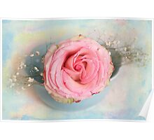 Single Pink Rose in a pastel blue bowl Poster