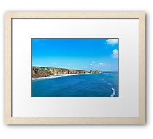 Porthcurno In Blue Framed Print