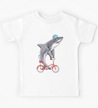 Cycling Shark  Kids Tee