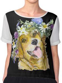 Dog with flowers. Chiffon Top