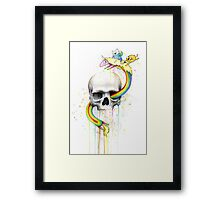 Adventure through Time and Face with Jake, Finn, and Lady Rainicorn | Skull Watercolor Framed Print