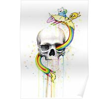 Adventure through Time and Face with Jake, Finn, and Lady Rainicorn | Skull Watercolor Poster
