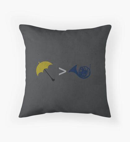 Yellow Umbrella Wins Throw Pillow