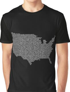 America Constitution Shape Map Graphic T-Shirt